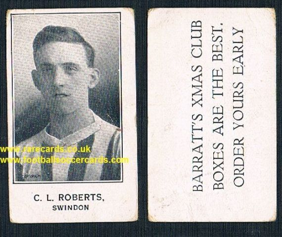 1926 Barratt C L Roberts Swindon Bournemouth Xmas Boxes variety footballer card